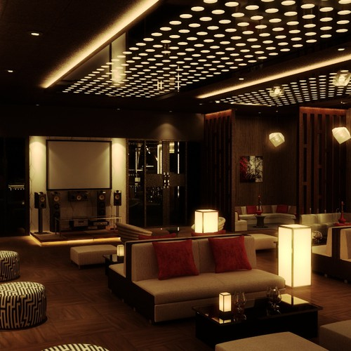 3d Realistic Interior Design For Hookah Lounge Other