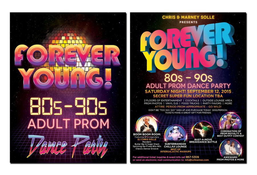design a party flyer for 80s 90s adult prom dance party postcard flyer or print contest. Black Bedroom Furniture Sets. Home Design Ideas