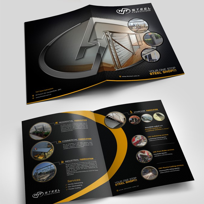 award winning brochure design - elegant modern contemporary brochure for tht steel